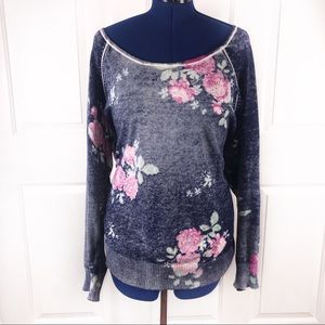 Torrid 3(X) wide neck distressed floral sweater